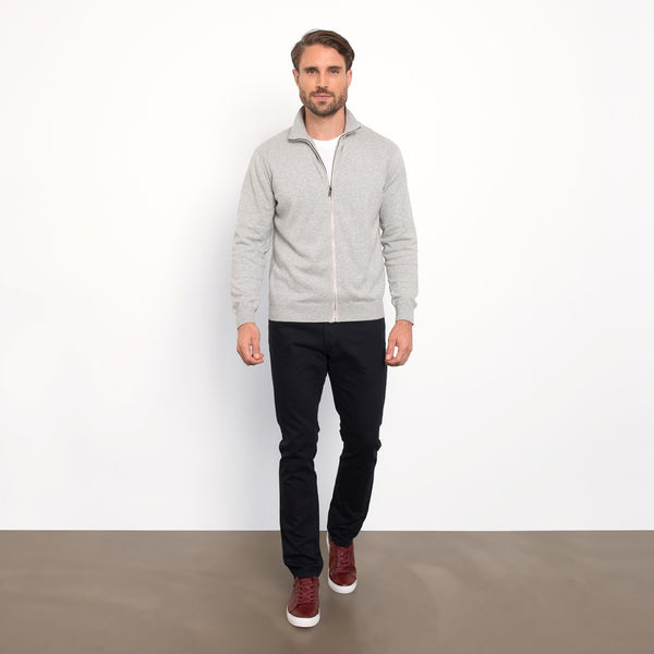 Light Grey Slim Fit Full Zip Knit Sweater