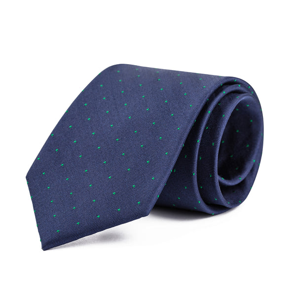 Navy and Green Mini Polka Dot Tie