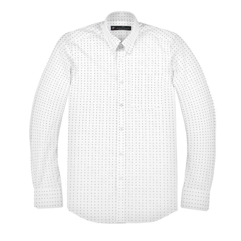White Patterned Stretch Athletic Fit Button-Down Collar Shirt