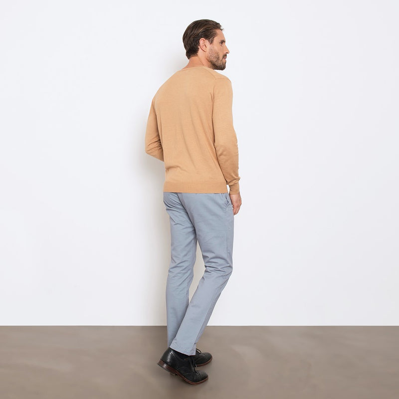Camel Slim Fit V Neck Knit Sweater