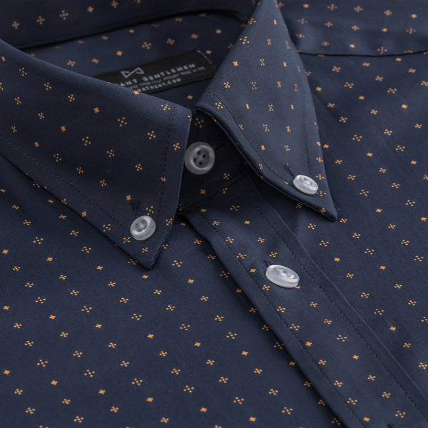Navy Patterned Stretch Slim Fit Button-Down Collar Shirt
