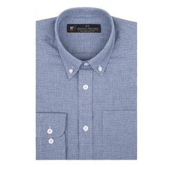 Light Blue Brushed Houndstooth Athletic Fit Button-Down Collar Shirt