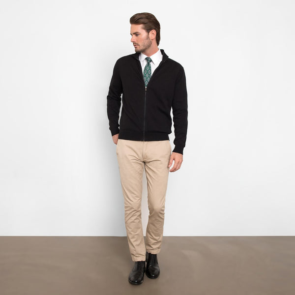 Black Slim Fit Full Zip Knit Sweater