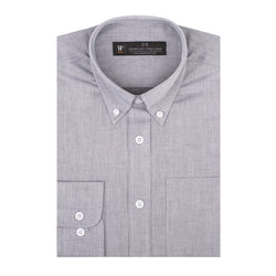 Grey Oxford Athletic Fit Button-Down Collar Shirt