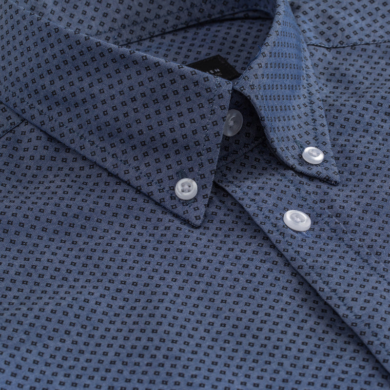 Blue Black Diamond Print Athletic Fit Button-Down Collar Shirt