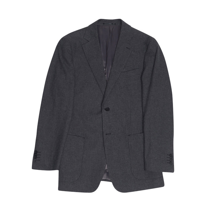 Charcoal Cotton Birdseye Tailored Fit Suit Jacket