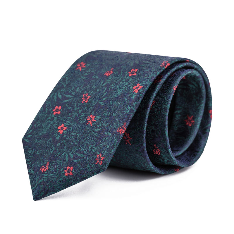 Navy Paradise Floral Tie