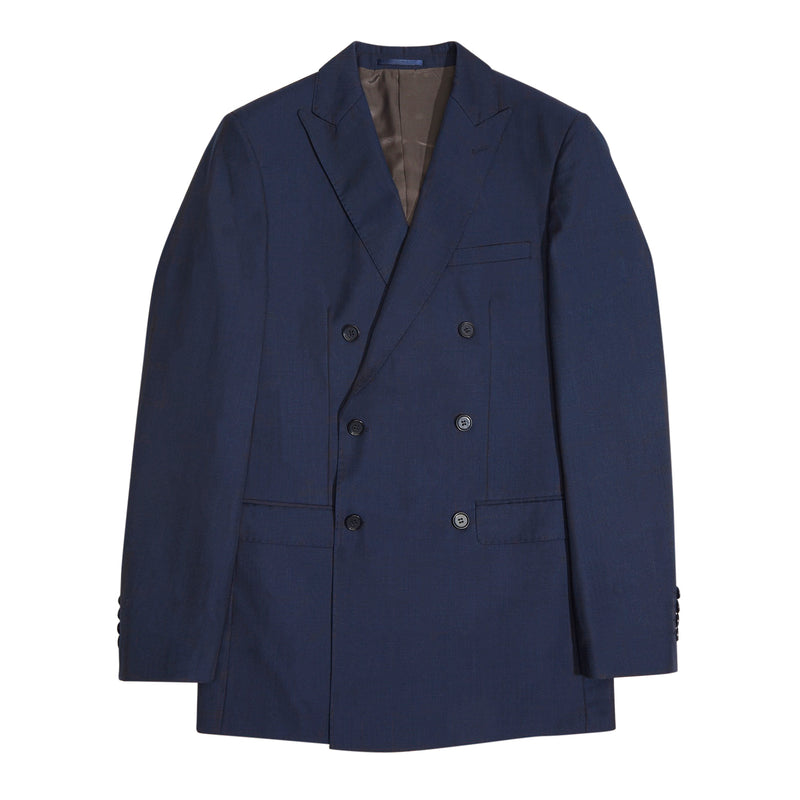 Essential Blue Double Breasted Slim Fit Suit Jacket