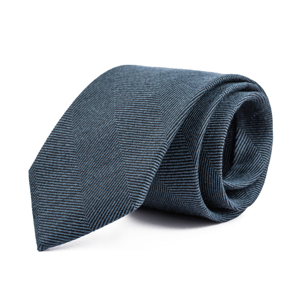 Slate Blue Wide Herringbone Tie