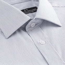 Light Blue Thin Stripe  Slim Fit Wide Spread Collar Shirt