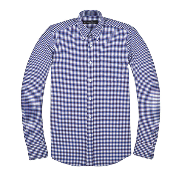 Purple and Blue Gingham Athletic Fit Button-Down Collar Shirt