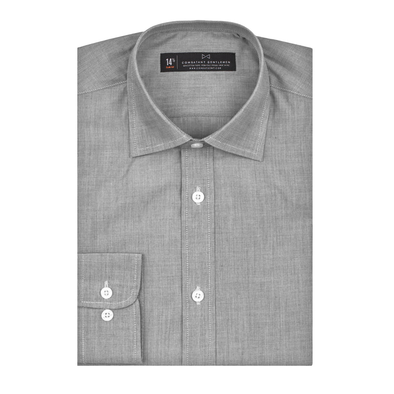 Grey Mini Nailhead Athletic Fit Wide Spread Collar Shirt
