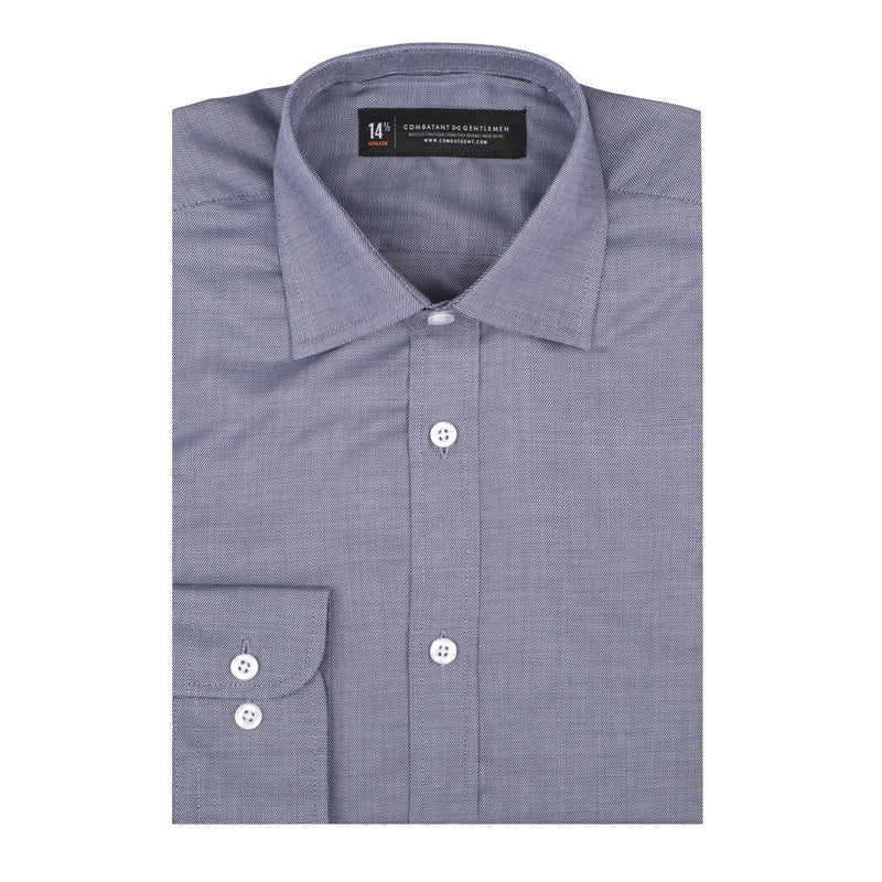 Black Sharkskin Slim Fit Wide Spread Collar Shirt