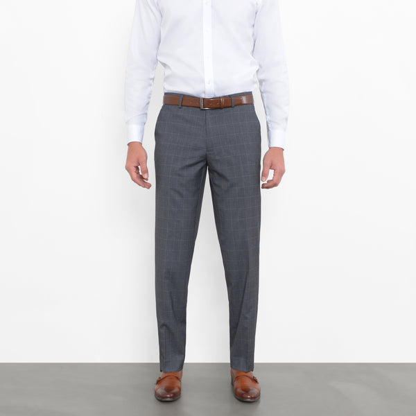 Charcoal On White Windowpane Stretch Pants