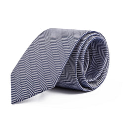 Navy and Grey Herringbone Tie