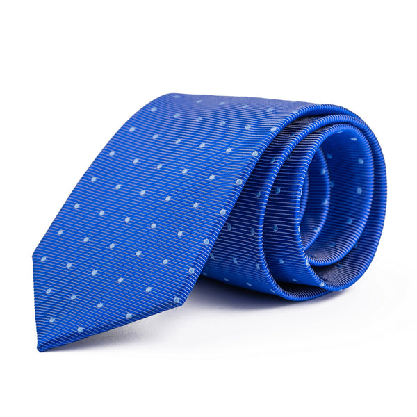 Royal Blue and White Polka Dot Tie