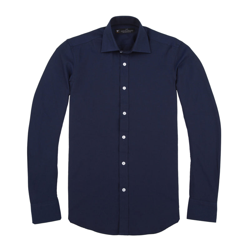 Navy French Oxford Athletic Fit Wide Spread Collar Shirt