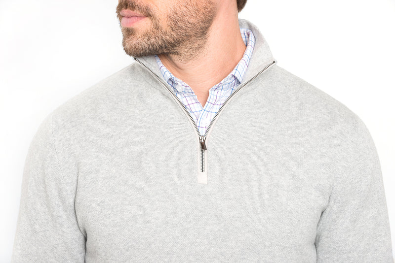 Light Grey Slim Fit Half Zip Knit Sweater
