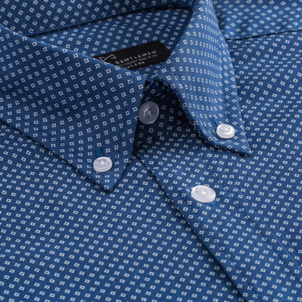 Slate Blue White Diamond Print Athletic Fit Button-Down Collar Shirt