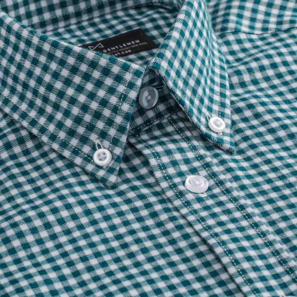 Dark Green Brushed Gingham Slim Fit Button-Down Collar Shirt