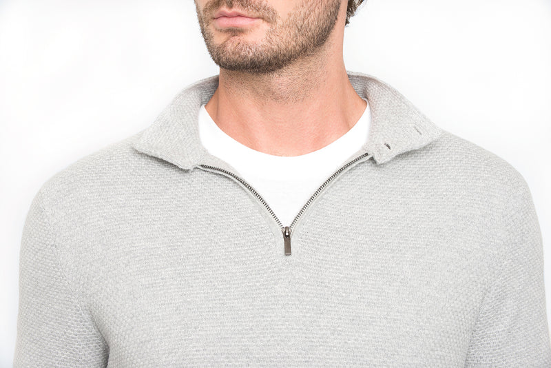 Light Grey Slim Fit Half Zip Button Collar Knit Sweater