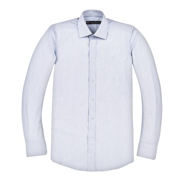 Light Blue Thin Stripe  Athletic Fit Wide Spread Collar Shirt