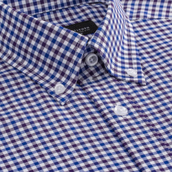 Purple and Blue Gingham Slim Fit Button-Down Collar Shirt
