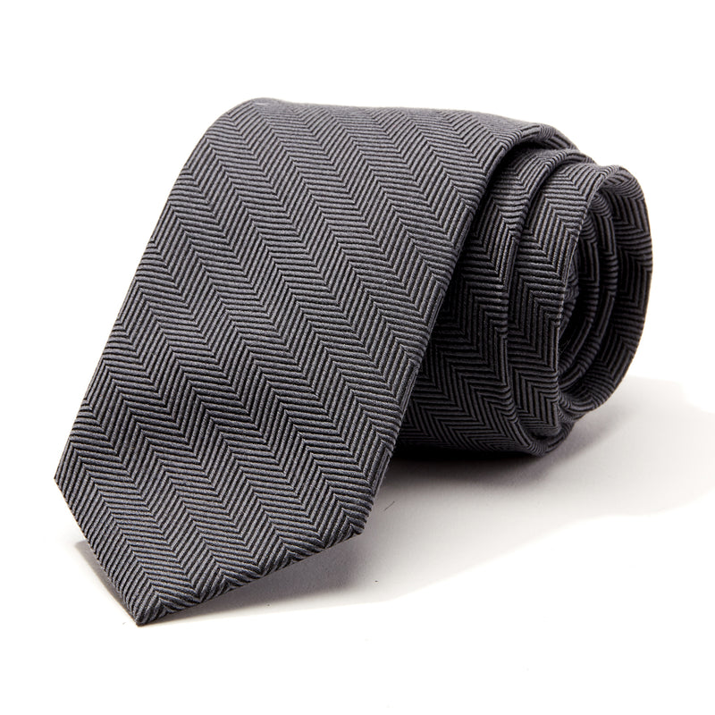 Grey and Black Herringbone Tie
