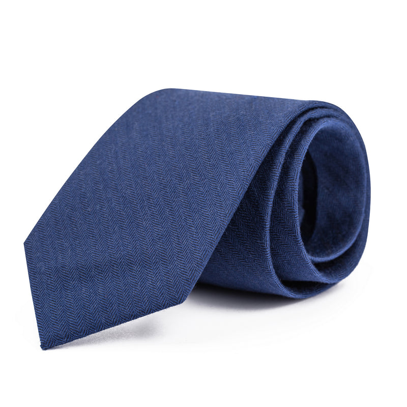 Navy Mini Herringbone Tie