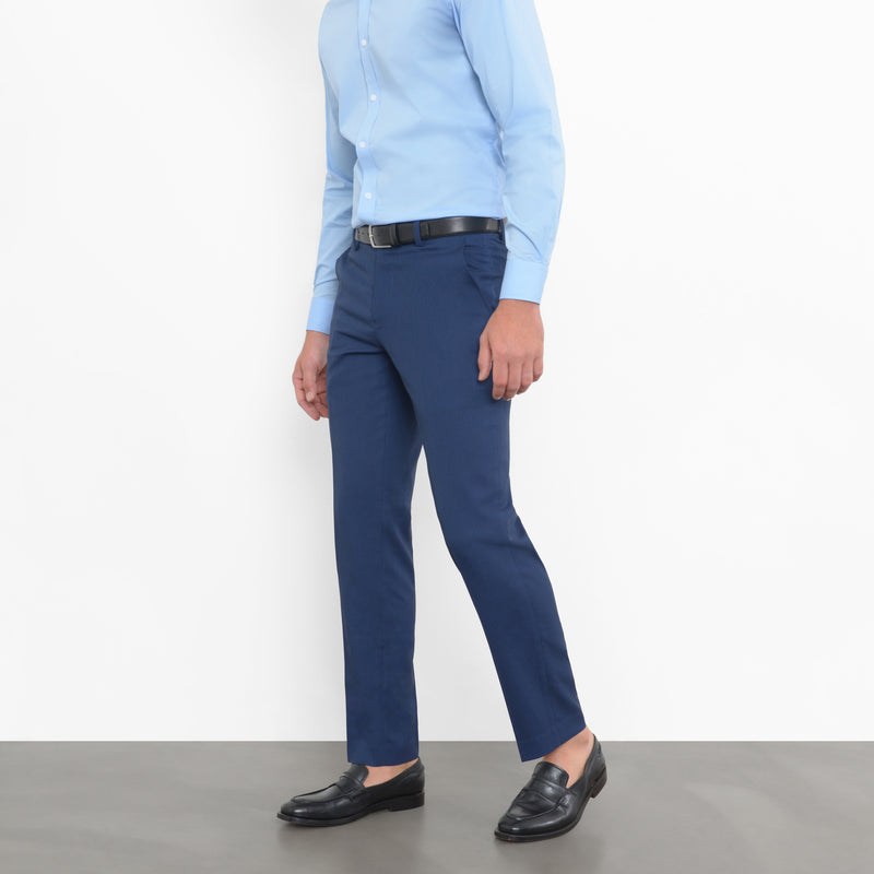Navy Birdseye Stretch Pants
