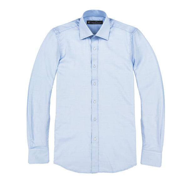 Light Blue Sharkskin Athletic Fit Wide Spread Collar Shirt