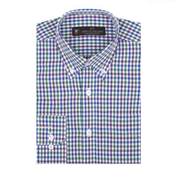 Purple Green and Blue Gingham Slim Fit Button-Down Collar Shirt
