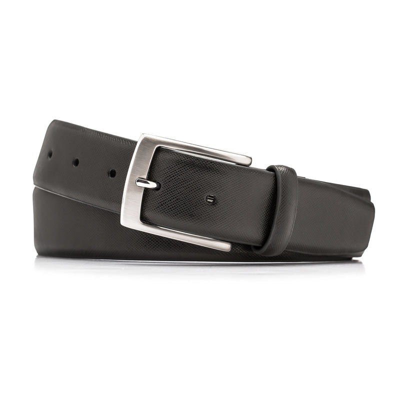 Black Leather Crosshatch Belt