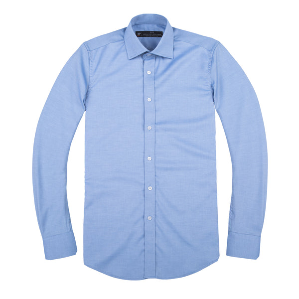 Light Blue Tonal Stretch Slim Fit Wide Spread Collar Shirt
