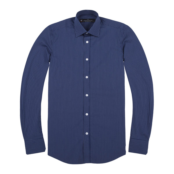 Navy Grid Stretch Slim Fit Wide Spread Collar Shirt