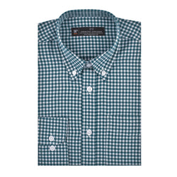 Dark Green Brushed Gingham Athletic Fit Button-Down Collar Shirt