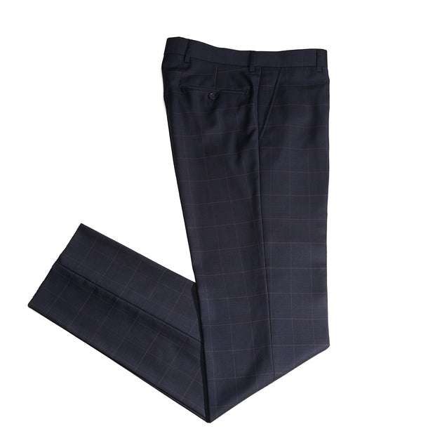 Navy Windowpane Tailored Fit Suit Pant
