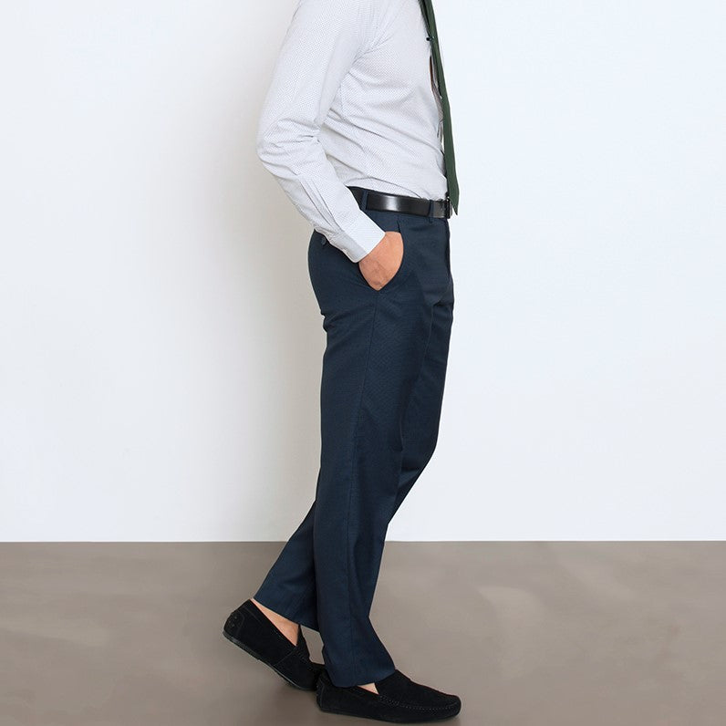 Blue Microcheck Workhorse Pant