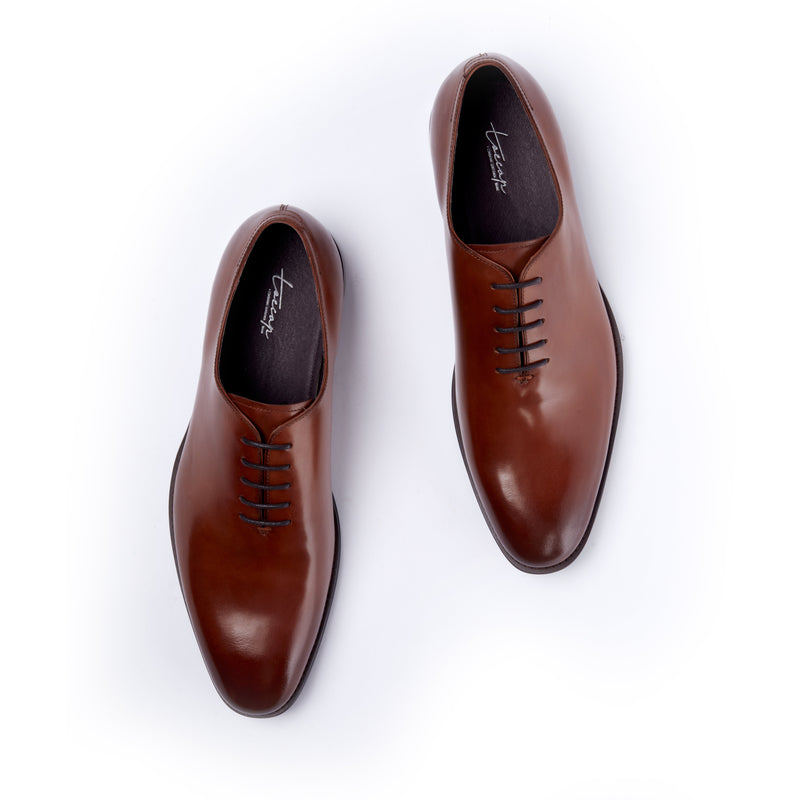 Brown Wholecut Lace Up Oxford Dress Shoe