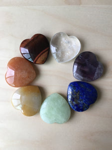 All seven crystal heart stones