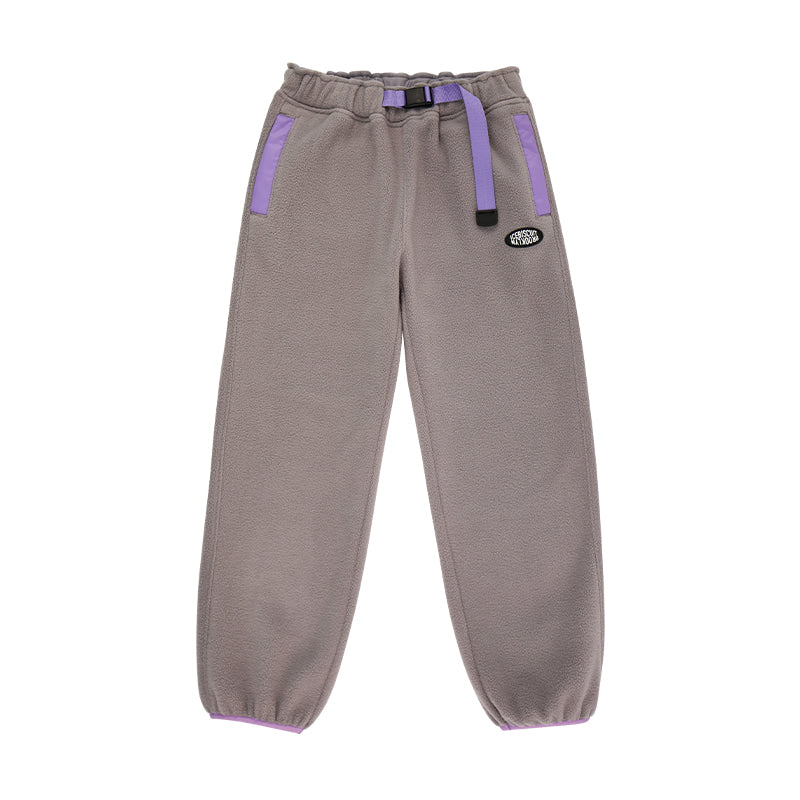 Icebiscuit logo patch fleece belted pants
