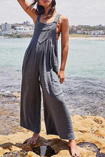 Paneled Solid Side Pockets Sling Jumpsuits