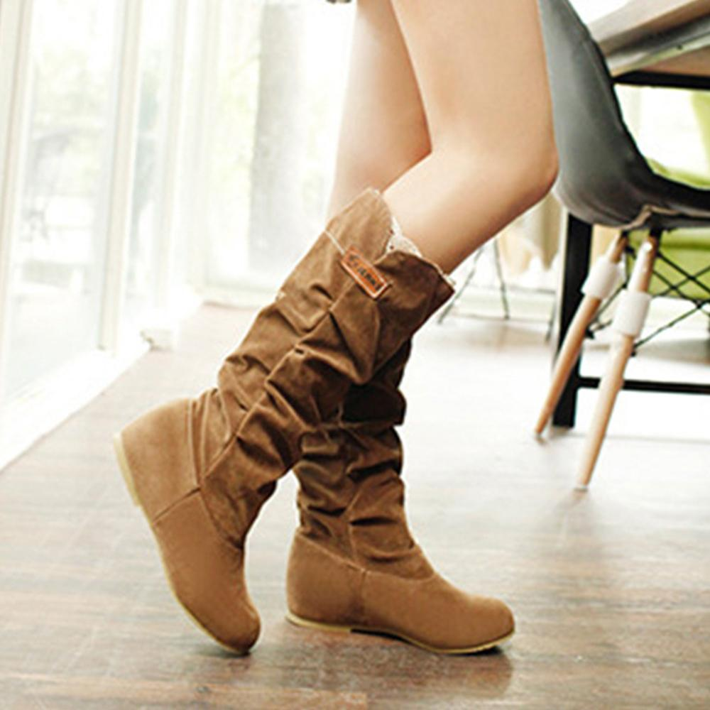 Solid Draped Round Toe Flat Heel Casual Boots