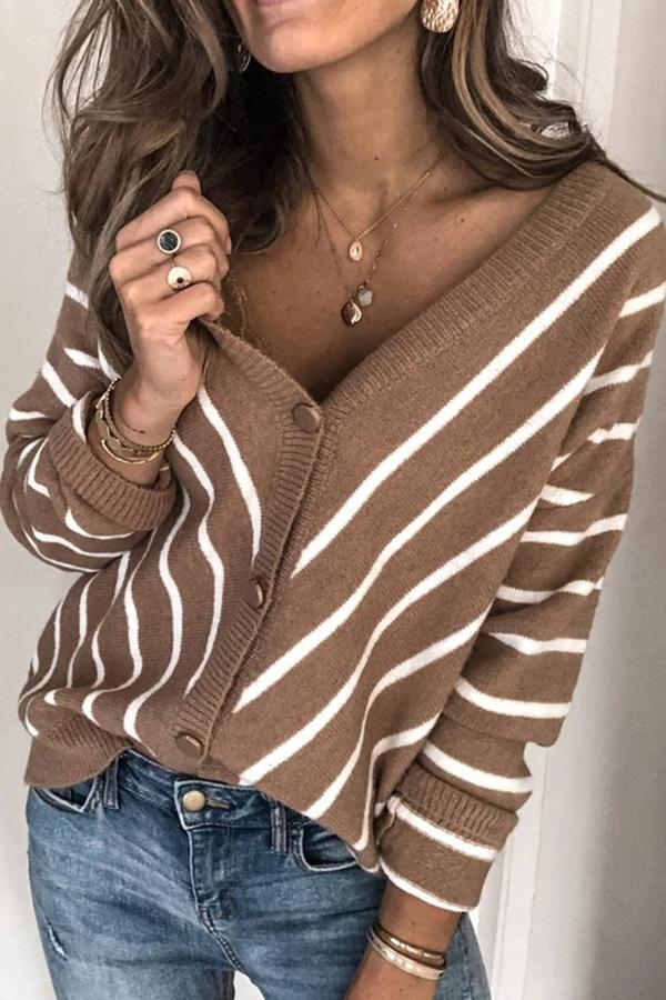 Stripe Button Fly V Neck Casual Cardigans