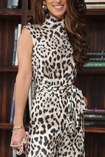 Leopard Sleeveless Turtleneck Self-tie Jumpsuits