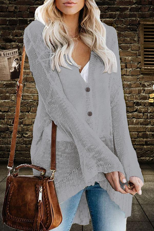 Casual Button Down High Low Cardigans