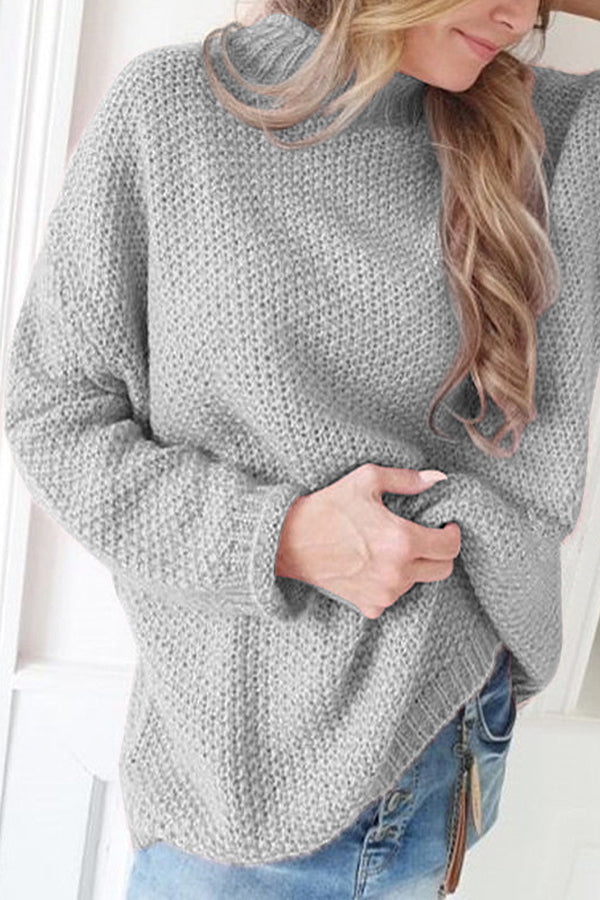 Solid Casual Stand Collar Loose Sweaters