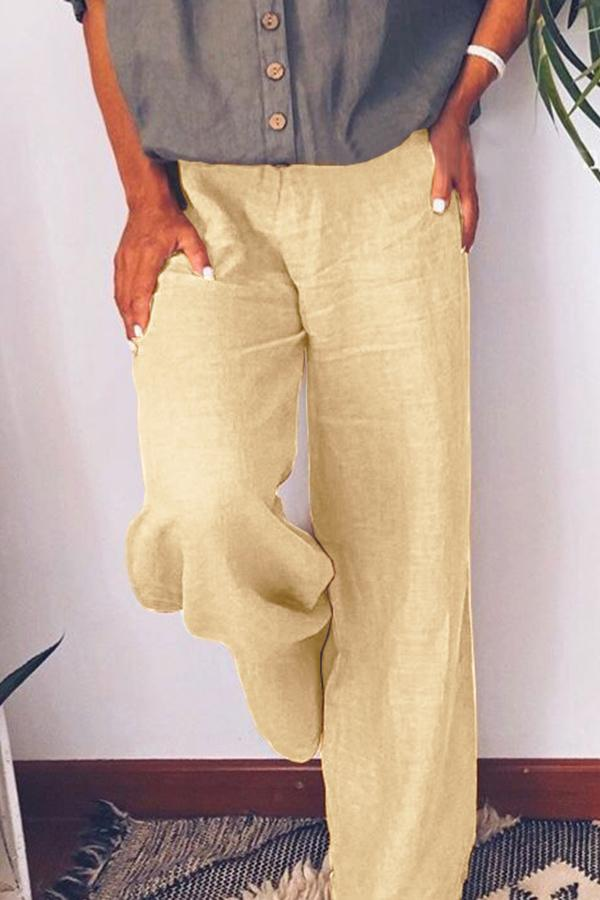 Solid Side Pockets Self-tie Casual Pants