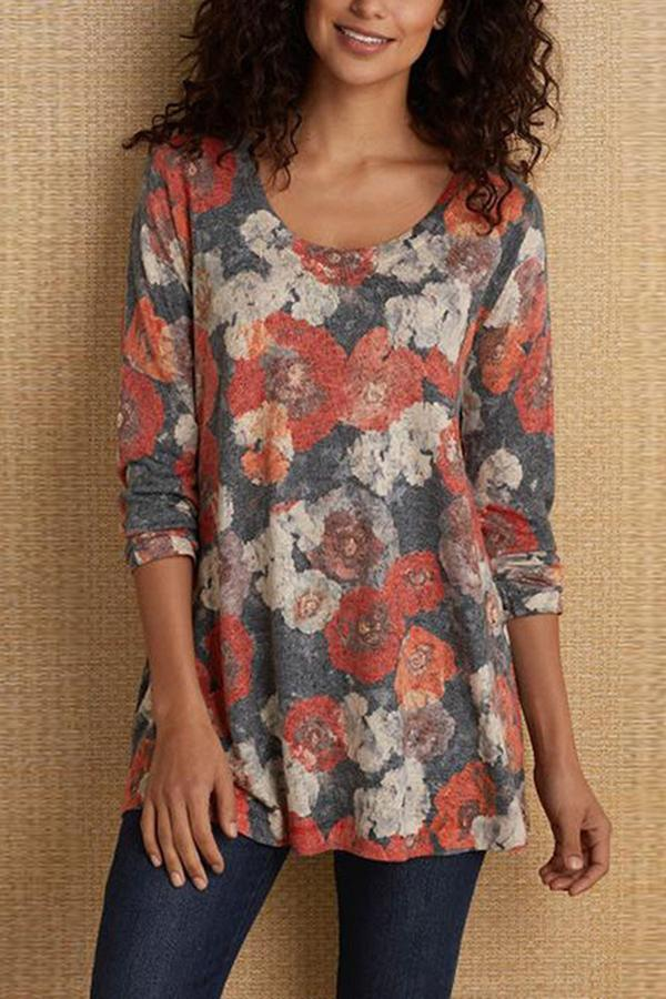 Floral Print Long Sleeve Crew Neck Loose T-shirts