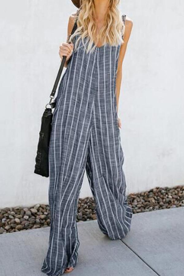 Casual Stripe Sleeveless V-neck Jumpsuits